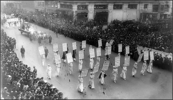 suffragist march, New York City, 1915